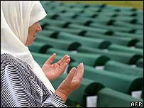 A Bosnian woman at the memorial for the 1995 Srebrenica massacre