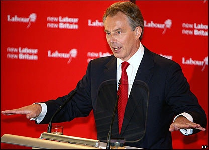 Tony Blair addresses supporters at Trimdon Labour Club