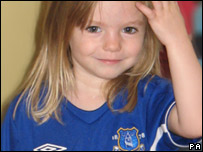 Madeleine McCann in an Everton FC shirt