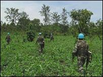UN soldiers search for rebel militias