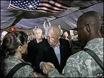 Vice-President Dick Cheney meets US at troops at Camp Speicher, Iraq