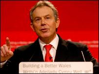 Tony Blair yn annerch y Blaid Lafur Gymreig