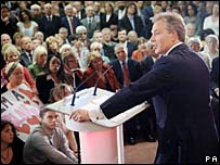 Tony Blair addresses supporters