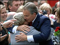 Tony Blair hugs a loyal supporter