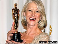 Dame Helen Mirren with her Oscar
