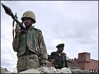 Pakistani troops at Lwara fort in North Waziristan