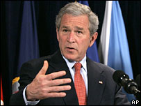 President George W Bush at the Pentagon