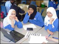 Roqiya, 12, Hibaq, 13 and Tasnim, 13, from Haggerston School in London.