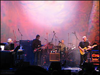 Rick Wright (left), Nick Mason (second right) and David Gilmour (right) at Syd Barrett tribute gig