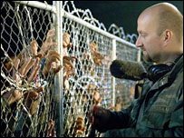 Director Neil Marshall on the set of Doomsday