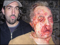 Prosthetic make-up designer Paul Hyett with a model