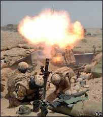 British troops fire a mortar at Gereshk, Afghanistan (PA)