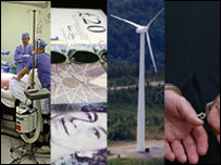 Montage of images: surgeons, money, wind farm, man in handcuffs