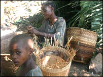 Women making baskets