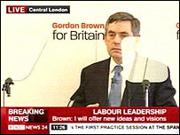Gordon Brown at his leadership launch