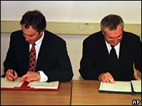 Blair and Ahern signing the Good Friday Agreement