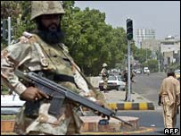 Paramilitary soldier on guard in Karachi
