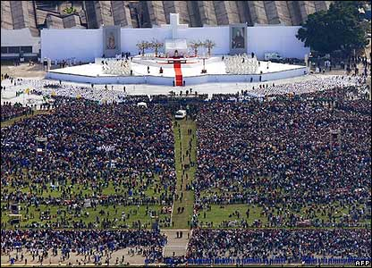Believers gather for an open-air Mass celebrated by Pope Benedict XVI