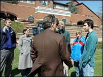 The BBC's Matt Frei talks to students at Eastern Mennonite University, Virginia