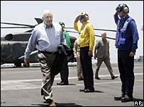 Dick Cheney on board USS Stennis