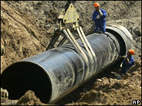 Workers lay part of the Baltic gas pipeline