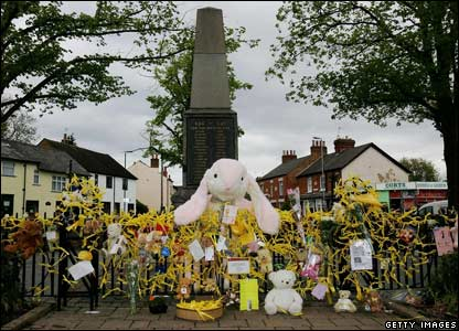 A huge cuddly toy forms the centrepiece of another expression of solidarity with Madeleine's family in their home village of Rothley.