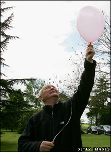 Madeleine's great uncle Brian Kennedy releases a balloon