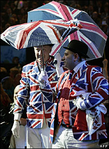 Two British fans enter the building