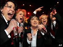 Eurovision winner Marija Serifovic (centre)