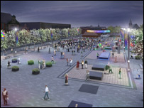 Artist's impression of Blyth market