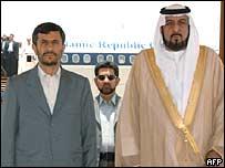 Presidente de Irán, Mahmoud Ahmadinejad y el presidente de Emiratos Árabes Unidos, Sheikh Khalifa bin Zayed al-Nahayan