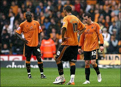 Wolves players show their disappointment