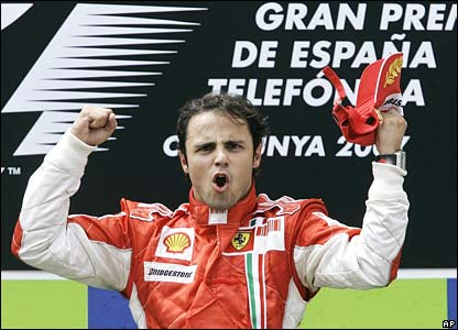 Felipe Massa celebrates his win