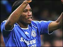 Didier Drogba celebrates equalising for Chelsea