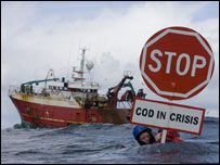 Greenpeace cod protest [Pic: Greenpeace/Aslund]