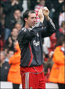 Robbie Fowler applauds the Anfield crowd