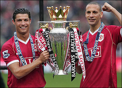 Cristiano Ronaldo and Rio Ferdinand celebrate with the Premiership trophy