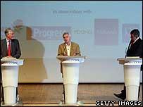 The three men at the Fabian Society debate