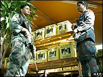 Soldiers guard ballot boxes ahead of voting