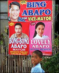 Posters for candidates from the Abapo family