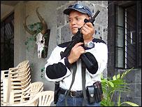 Bodyguard for candidate Maloli Espinosa