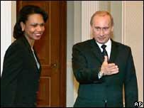 Condoleezza Rice and Vladimir Putin (file pic)