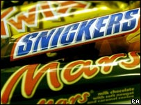 Mars, Snickers and Twix chocolate bars