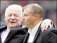 Wigan chairman Dave Whelan and manager Paul Jewell celebrate after the win at Sheffield United ensured the club's Premiership survival