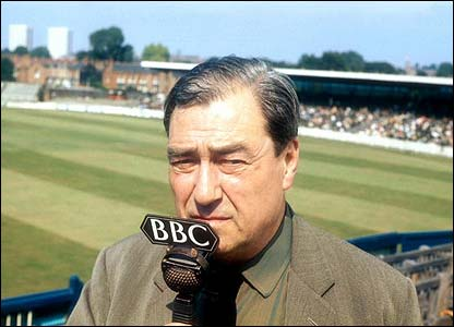 John Arlott, seen reporting during a Test match at Edgbaston in 1970