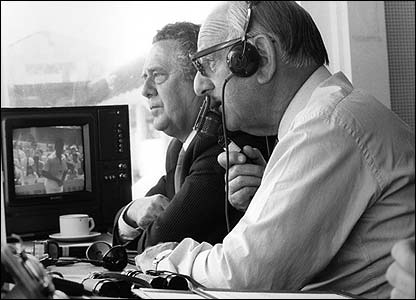 Trevor Bailey and Brian Johnston commentate for TMS at Lord's