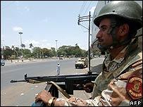 Paramilitary policeman in Karachi