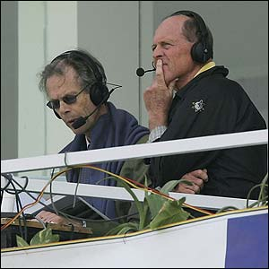 Christopher Martin-Jenkins and Geoffrey Boycott watch the final Test between Pakistan and England in Lahore