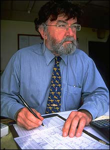 Bill Frindall the TMS statistician at work during England's clash with Australia at Old Trafford in 1997