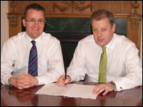 ADL chief executive Colin Robertson and  Brian Davidson, chairman of Plaxton